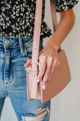 Pink - Crocodile Crossbody Bag in Pink Side View