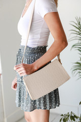 Ivory - Crocodile Crossbody Bag in Ivory Side View