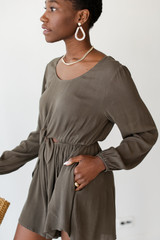 Tie-Front Romper in Olive Side View