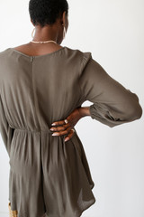 Tie-Front Romper in Olive Back View