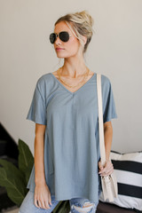 Dress Up model wearing a Babydoll Top in teal