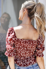 Smocked Floral Blouse in Wine Back  View