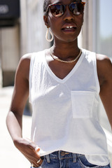 White - Dress Up model wearing a Relaxed Fit Pocket Tank