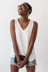 White - Dress Up model wearing a Relaxed Fit Tank