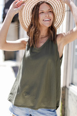 Olive - Model wearing a Relaxed Fit Tank with denim shorts