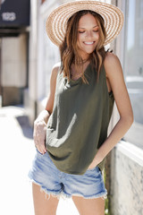 Olive - Dress Up model wearing a Relaxed Fit Tank with denim shorts