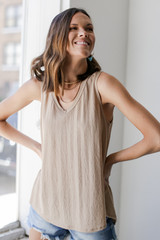 Taupe - Relaxed Fit Tank Front View