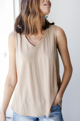 Taupe - Relaxed Fit Tank Front View on model
