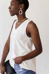 Relaxed Fit Tank in White Side View