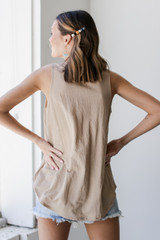 Relaxed Fit Tank in Taupe Back View
