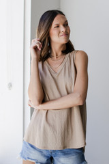 Relaxed Fit Tank in Taupe Front View