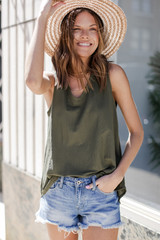 Relaxed Fit Tank in Olive Front View