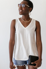 White - Model wearing a Relaxed Fit Tank