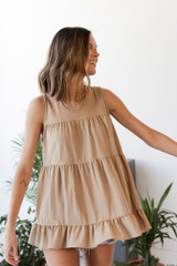 Dress Up model wearing a taupe Tiered Ruffle Tank