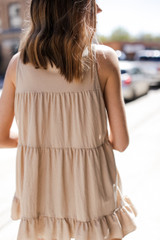 Taupe - Tiered Ruffle Tank from Dress Up