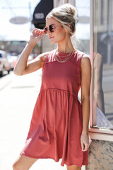 Marsala - Babydoll Dress