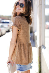 Babydoll Top in Camel Side View