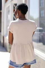 Babydoll Top in Taupe Back View