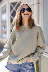 Olive - Oversized Pullover