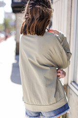 Oversized Pullover in Olive Back View