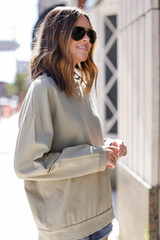 Oversized Pullover in Olive Side View