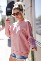 Oversized Pullover in Blush Side View