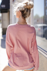 Oversized Pullover in Blush Back View