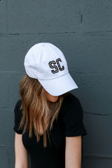 Model wearing an SC Leopard Cap