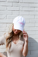 Dress Up model wearing the Charleston Summer Cities Hat in White