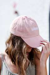 Model wearing the Dahlonega Summer Cities Hat in Blush