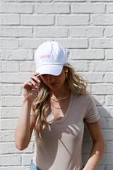 White - Dress Up model wearing the Dahlonega Summer Cities Hat