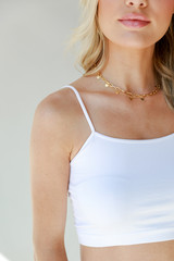 White - Dress Up model wearing a Cropped Cami