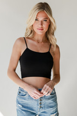 Cropped Cami in Black Front View