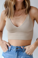 Padded Ribbed Bralette in Taupe Front View