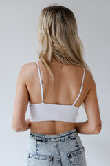 Padded Ribbed Bralette in White Back View