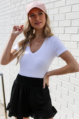 White - Dress Up model wearing an Everyday Bodysuit with shorts