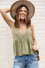 Olive - Dress Up model wearing a Summer Breeze Tank with a straw hat