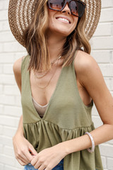 Summer Breeze Tank in Olive Front View