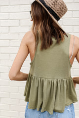 Summer Breeze Tank in Olive Back View