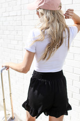 Ruffled Shorts in Black Back View