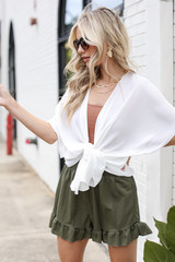 Ruffled Shorts in Olive Front View