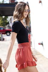 Ruffled Shorts in Dusty Rose Side View