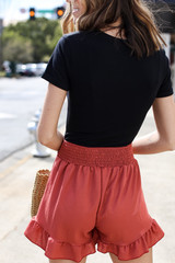Ruffled Shorts in Dusty Rose Back View