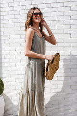Tiered Maxi Dress in Olive Side View