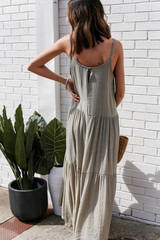 Tiered Maxi Dress in Olive Back View