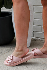 Buckled Slide Sandals in Blush Side View