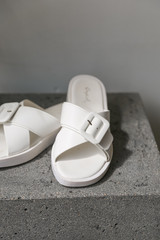 Buckled Slide Sandals in White Front View