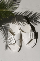 Flat Lay of Buckled Slide Sandals in White
