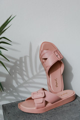 Flat Lay of Buckled Slide Sandals in Blush