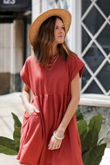 Dusty Rose - Model wearing a Summer Dress with a straw hat